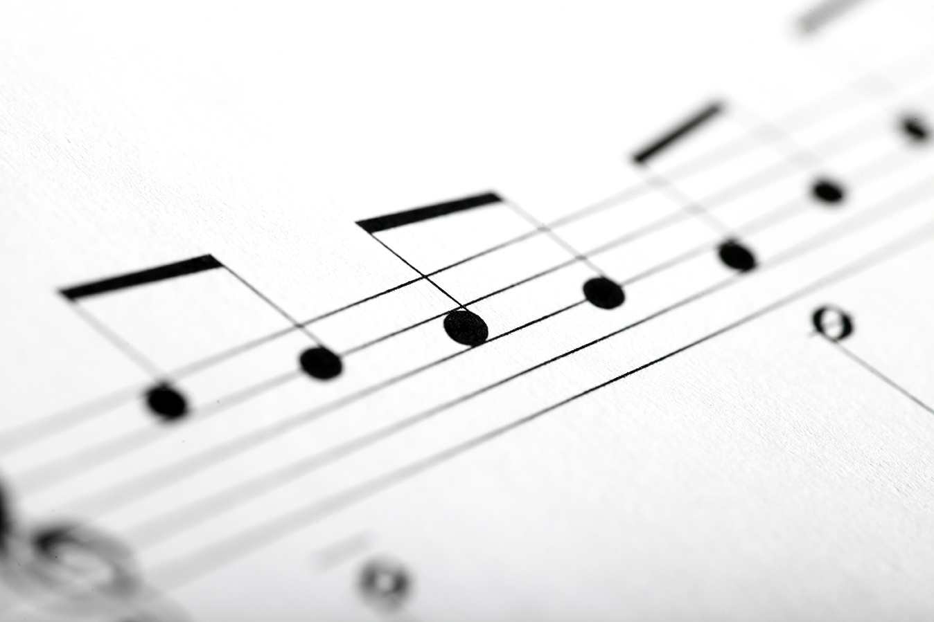 Detail of some musical notes on a music sheet